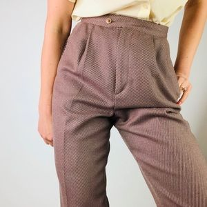 VINTAGE Wool Pleat Front High Waisted Tapered Pant